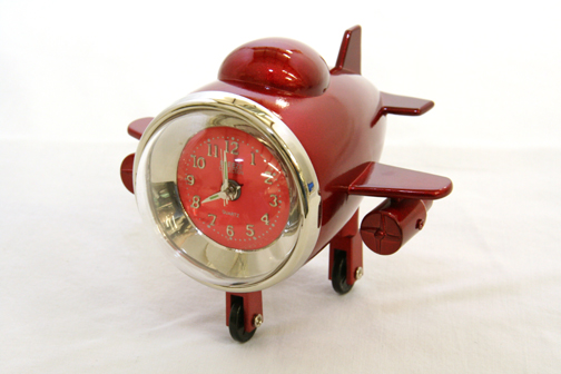 Aviation Airplane Clock Red